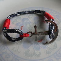Real Take Stainless Steel Anchor Atlantic Red T&H Bracelet Mediterranean Rope Navy Navigation Anchor Bracelets with Box