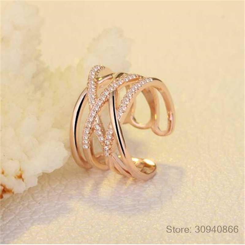 Estilo coreano 925 prata esterlina abertura anéis multi-camada linha cruz mosaico zircônia anéis para jóias femininas S-R243