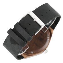 Wood Watches Bangle for Men Women Nature Handmade Wood Wrists Quartz Analog Black Leather Strap herenhorloges mannen Male Clock