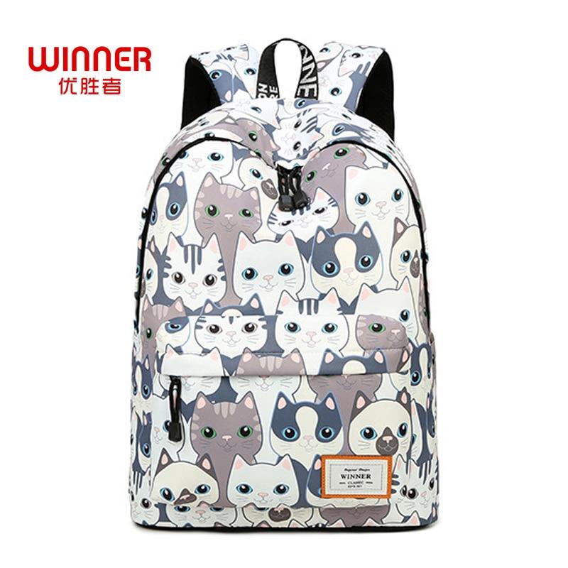 WINNER Women Backpack For Teenage Girls School Bags Rucksack Waterproof Cute Cat Printing Backpack Travel Bags Mochila the best chrismas