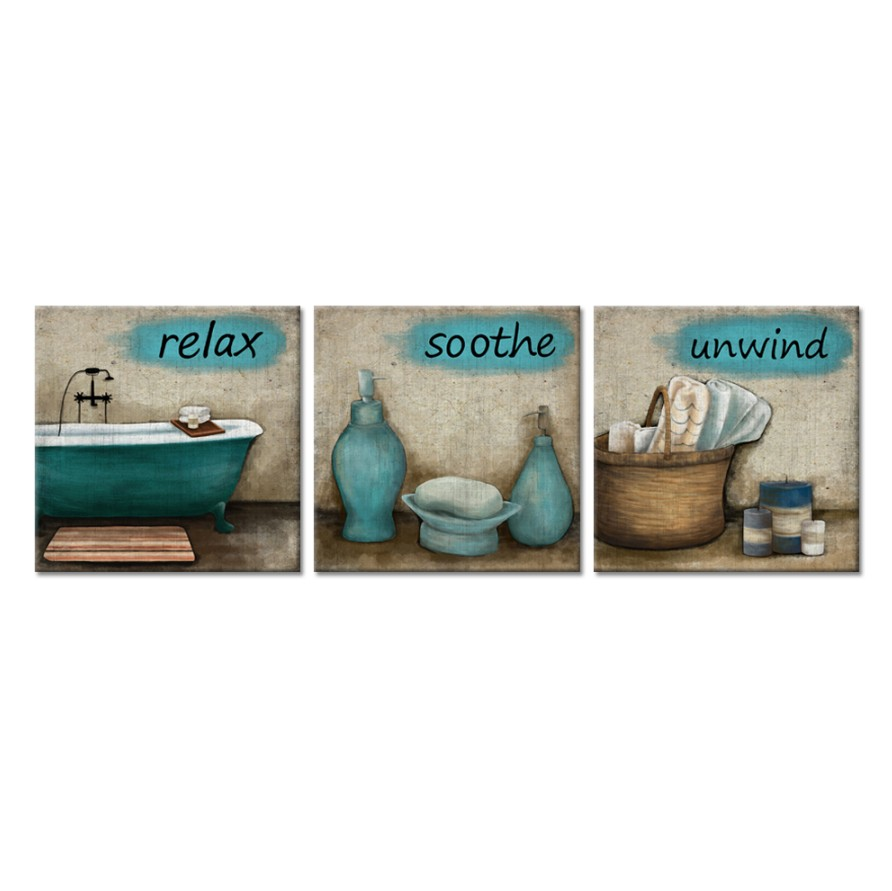 3 Pieces Bathroom Canvas Wall Art Teal Style Bathtub Bath Set Towel Relax Soothe Unwind Bathroom Still Life Picture Poster Print