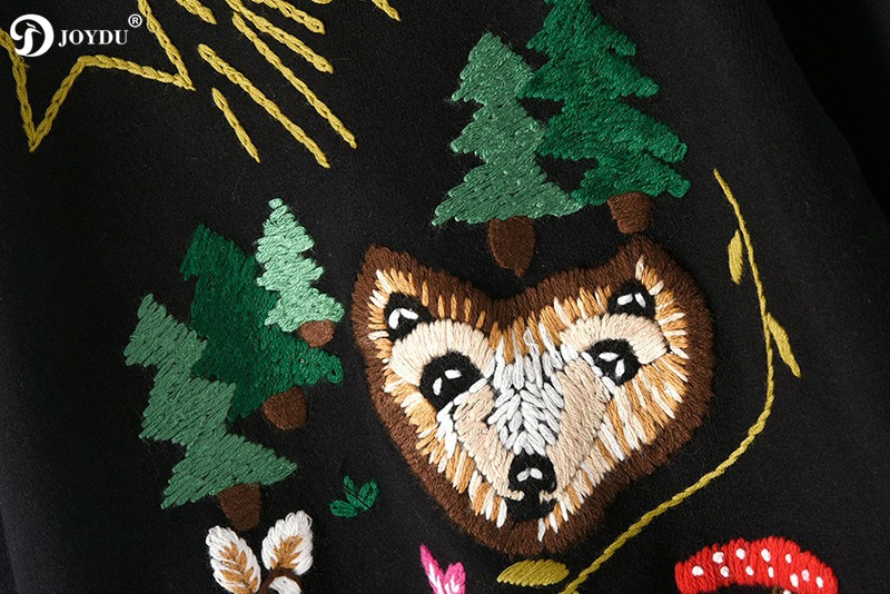 2018 Runway Christmas Tree Fox Winter Sweater Women Pullover Embroidery Korean Fashion Knitted Tops Oversized Sweaters Jumper
