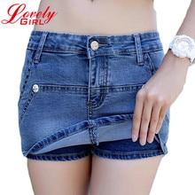 Summer Denim Shorts Women 2017 New Arrival High Waist Shorts Female Blue Color Skirt Shorts Jeans Slim Sexy Skort Hot Sale