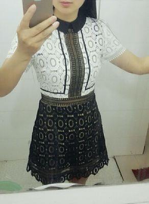 Plus Size European Brand Dress 2016 New Fashion Women Hot Short Sleeve Faux 2Piece Casual Summer Club Party Lace Dresses SP006