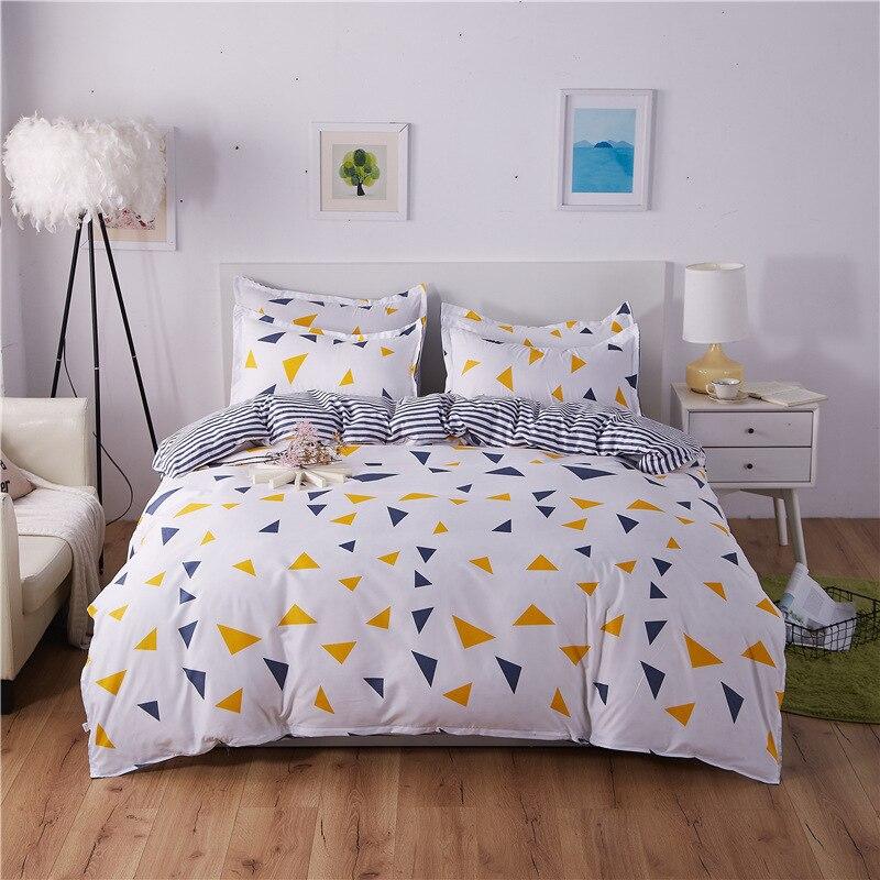 Grey white bedding set 2018 Summer duvet cover set green leaf bedclothes AB side Geometric bed set home bed linen set king sheet