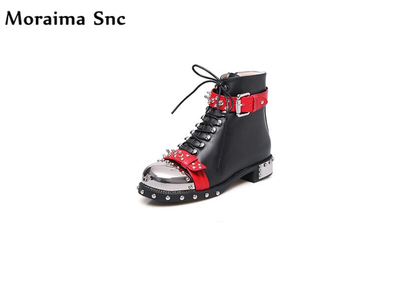 Moraima Snc fashion women Riding boots metal Round toe Rivet leather buckle cross-tied Decoration female Ankle boots PU leather riding winter boots feathers 2015 new fashion korean metal decoration genuine leather elevator pull on pure color round toe