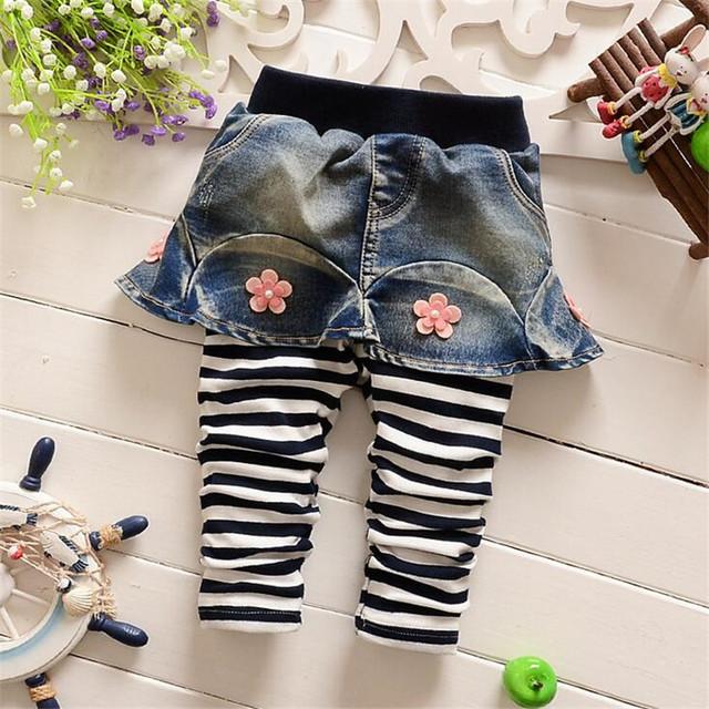 2016 Primavera Outono Novo Bebê meninas calças listradas moda flor calças do bebê da criança infantil bonito roupas