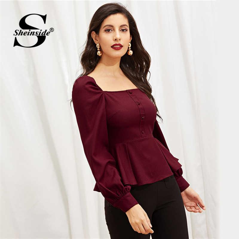 40b2a172 ... Sheinside Elegant Blouse Women Shirts Zip Back Button Front Peplum Top Female  Square Neck Slim Fit ...