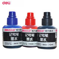 Deli 12 ml permanent waterproof Instantly dry graffiti paint black blue red pen oil ink refill for colored marker pens refill