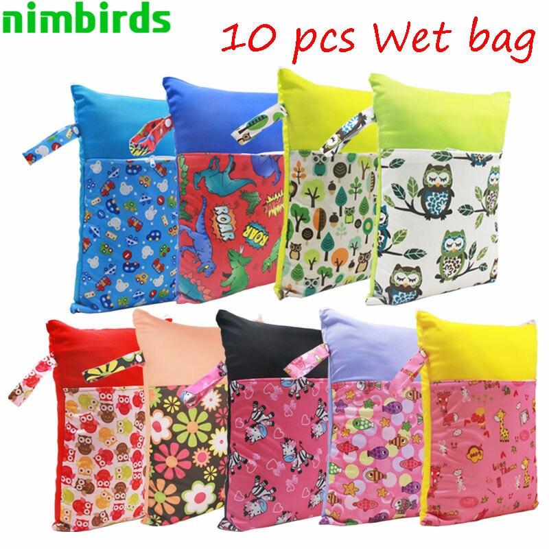 10 pcs Washable Baby Diaper Bags Nappy Reusable Patchwork 30x40cm Double Zippers Cloth Diaper Waterproof Wet