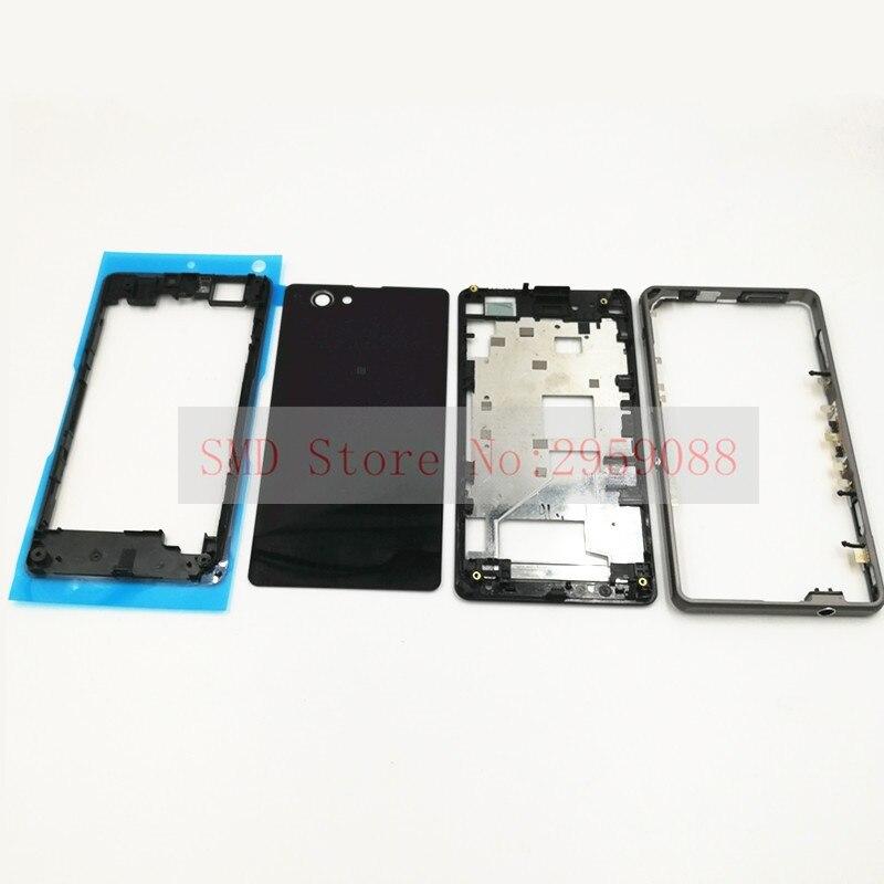 Nouveau Logement Avant Lunette Plaque LCD Cas Pour Sony Xperia Z1 Compact mini D5503 M51W Cas de Logement + Moyen Cadre