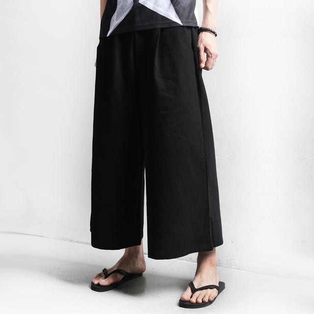Nueva Llegada de Los hombres Flojos Pantalones de Pierna Ancha Punky Masculino Negro Ocasional Pantalones Harén y Pantalones