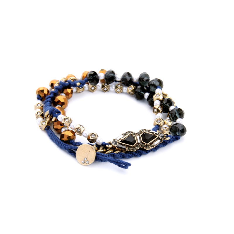 Gold Color Braided Rope Mixed Chain Ethnic Bracelet Long Style Layered Bracelet Beaded Women Accessories