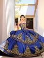 Azul Royal vestido de Baile Cristais Bordados Vestidos Quinceanera Ouro Barato sweet 16 vestidos para crianças de 15 anos vestidos de 15 años Q397