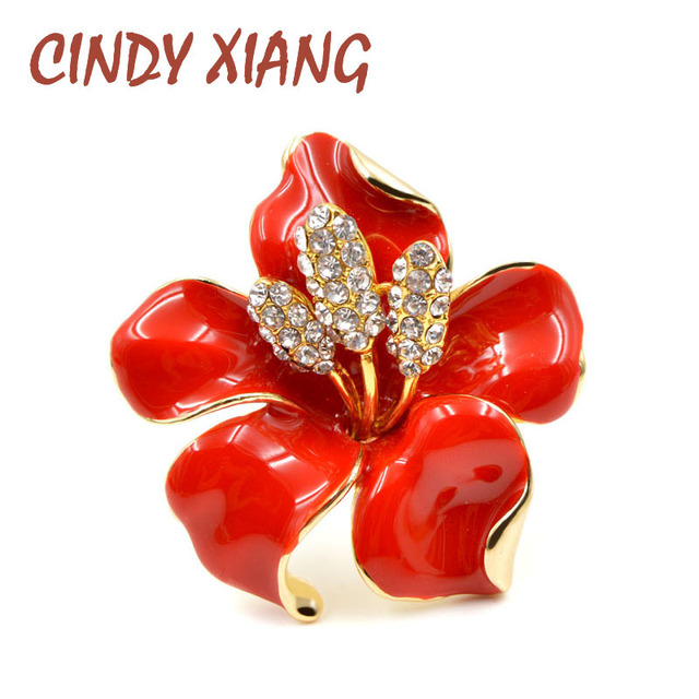 CINDY XIANG Beautiful Enamel Flower Brooches For Women Gold & Silver Plated Jewe