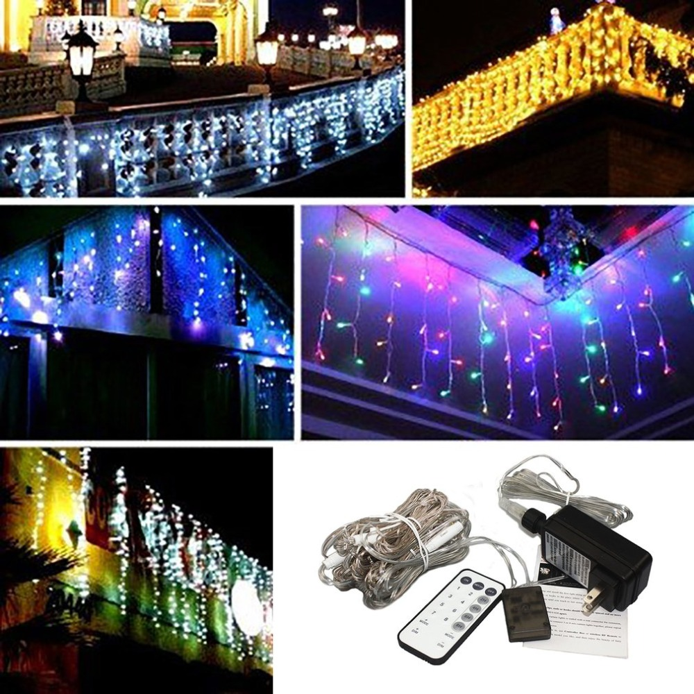 Remote Control LED String Light 3x3m 300Leds Drop LED Curtain Light for Wedding Home Garden Party Decorative Light