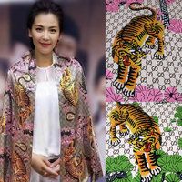 2017 New New Europe and the United States Tiger figure printed clothing fabric handmade DIY dress 145cm*50cm