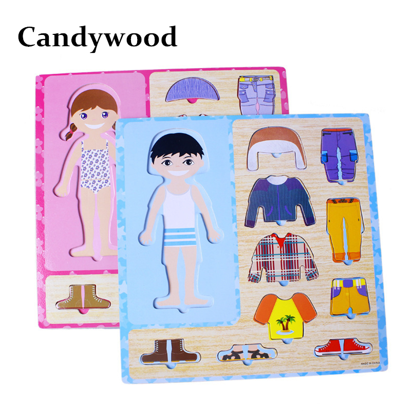 Hearty Candywood 3d Cartoon Wooden Puzzle Diy Girl&boy Clothes Dress Changing Jigsaw Educational Toys For Children Kids Gifts Diversified Latest Designs Puzzles & Games Puzzles