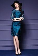 Avrupa ve Amerikan Mesh Nakış Kalem Elbise Bayanlar Elegance Diz Boyu Emek verme Ofisi Elbise Artı Boyutu Elbise 4XL