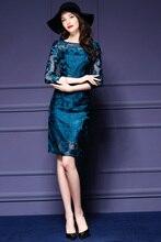 European American Mesh Embroidery Pencil font b Dress b font Ladies Elegance Knee Length Work font