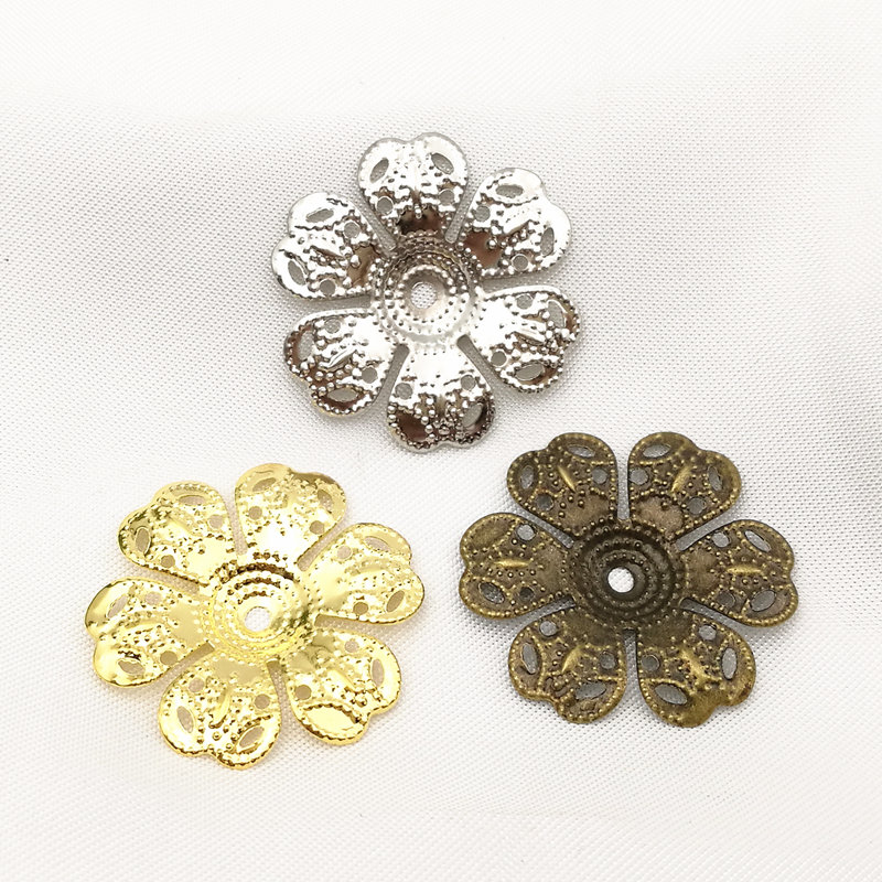 30 pcs/lot 25mm Gold color/White K/Antique bronze Metal Filigree Flowers Slice Charms base Setting Jewelry DIY Components fossil georgia es3060