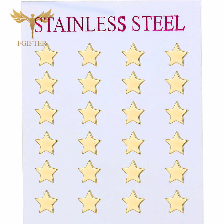 12pairs/lot Wholesale Star Earrings Set Man Woman Girl Stud Earring Gold Stainless Steel Jewelry Fashion Jewellery