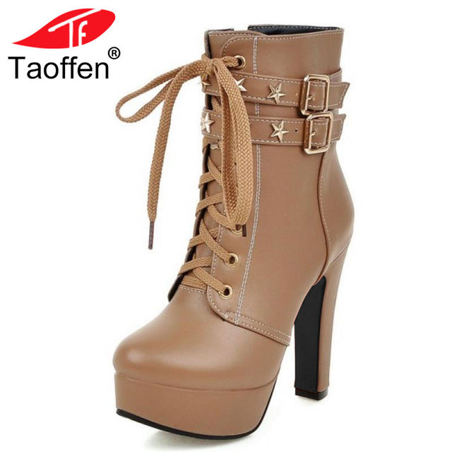 e009de48d4f TAOFFEN Women Shoes Women Ankle Boots Lace Up Rivets High Heels Platform  Waterproof Autumn Winter Martin Boots Shoes Size 32 47-in Ankle Boots from  ...