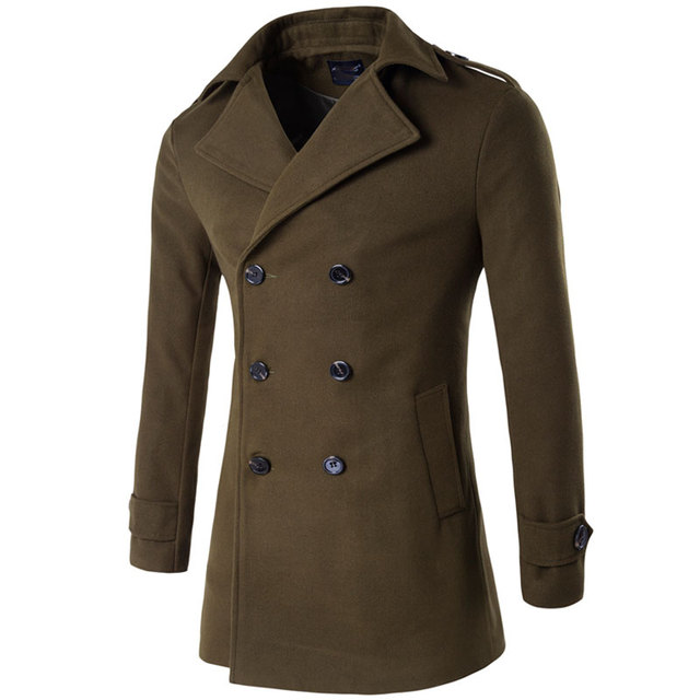 ecb28e0d1 Men's Epaulette Shoulder Double Breasted Wool Winter Coats for Men Medium  Long Jackets Man's Slim fit Peacoat 2018 Male Trench-in Wool & Blends from  ...