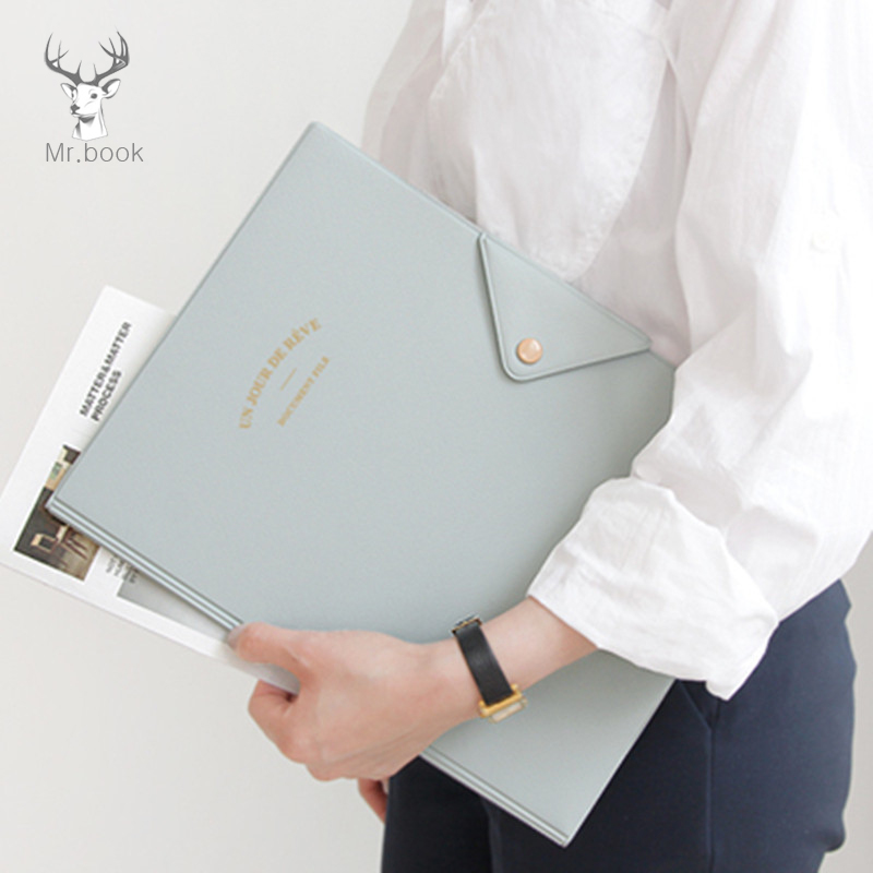 Portable 4 Colors A4 Waterproof PVC File Folder Paper Bill Card Organizer Case Office Stationery Business Office Meeting Folder
