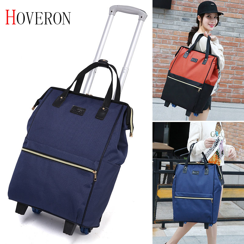 Women Business Travel Trolley Bags Travel Backpacks With Wheels Luggage Trolley Backpack Mochila Oxford Rolling Baggage Suitcase