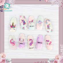 Latest SE Series female Nail stickers Rainbow Unicorn Design decals self-adhesive 3D nail art