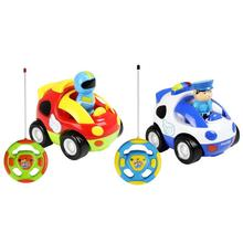 цены Cartoon car toys with remote control Plastic Child Toys Car Vehicle with Music Light for kids gift children car toys rc