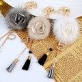 Flor de la camelia llaveros genuino de visón Real bola llavero de piel para las llaves del coche llavero anillo colgante para mujer del encanto del bolso f361