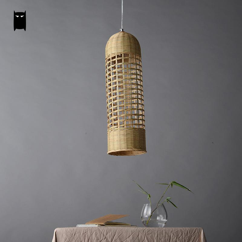 Bamboo hand woven wicker rattan basket long lampshade cylinder bamboo hand woven wicker rattan basket long lampshade cylinder pendant light fixture asian japanese lamp dining study tea room in pendant lights from lights aloadofball Image collections