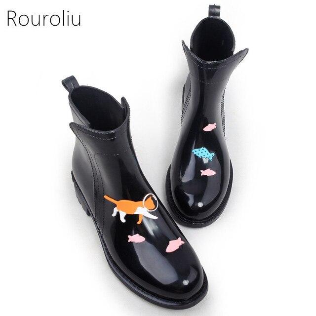 Rouroliu Kadın PVC Ayak Bileği yağmur çizmeleri Karikatür Hayvanlar Su Geçirmez su ayakkabısı Kadın Rainboots Wellies Kayma-on TR114