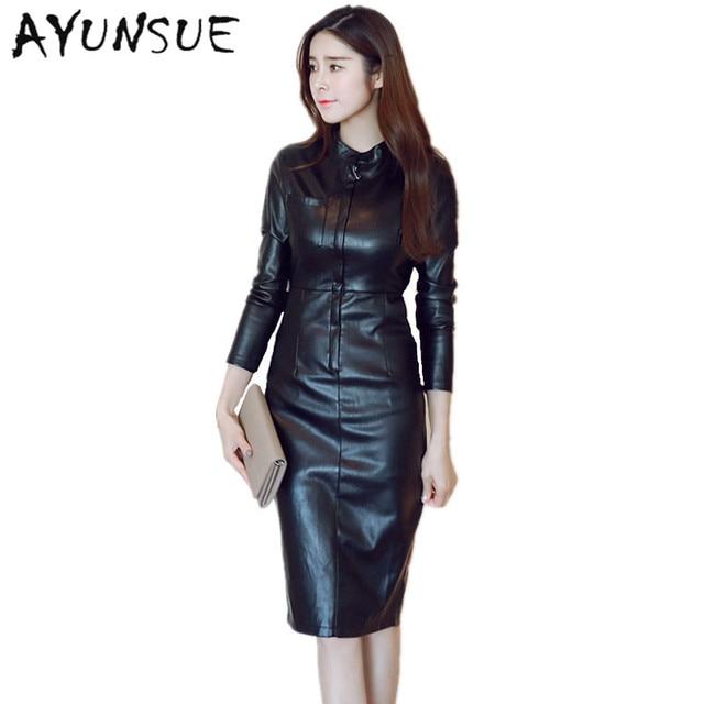 2018 Autumn PU Leather Black Dress Party Women Clothing Velvet Dress ...