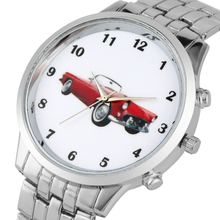 Vintage Red Car Mustang Pattern Watches For Men Charming Quartz Analog