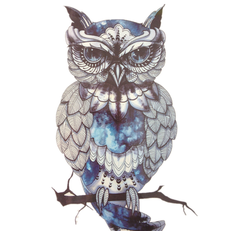 Blue OWL SO COOL NEW ARRIVAL 21 X 15 CM Temporary Tattoo Stickers Temporary