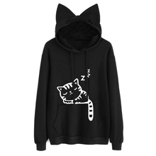 Womens Cat Printed Long Sleeve Hoodies Pullovers Fashion Cat