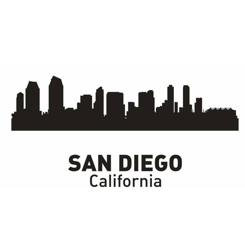 San Diego City Decal Landmark Skyline Wall Stickers Sketch Decals