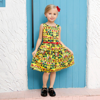 Beautiful Flower Dress Baby Girl Cotton Party Clothing For 2017 Summer Girls Print Pattern Kids Princess