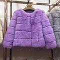Women's Slim Short Coat Elegant O-neck 100% Real Rabbit Fur Jacket Winter Warm Outwear