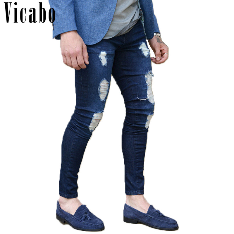 Vicabo Mens Explosion Hi-Street Models Jeans 2018 Summer Casual Solid Blue Washed Destroyed Jeans