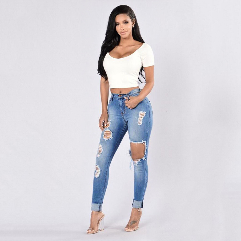 Boyfriend Hole Ripped Jeans Women Pants Cool Denim Vintage Straight Jeans For Girl High Waist Casual Pants Female Slim Jeans#5s