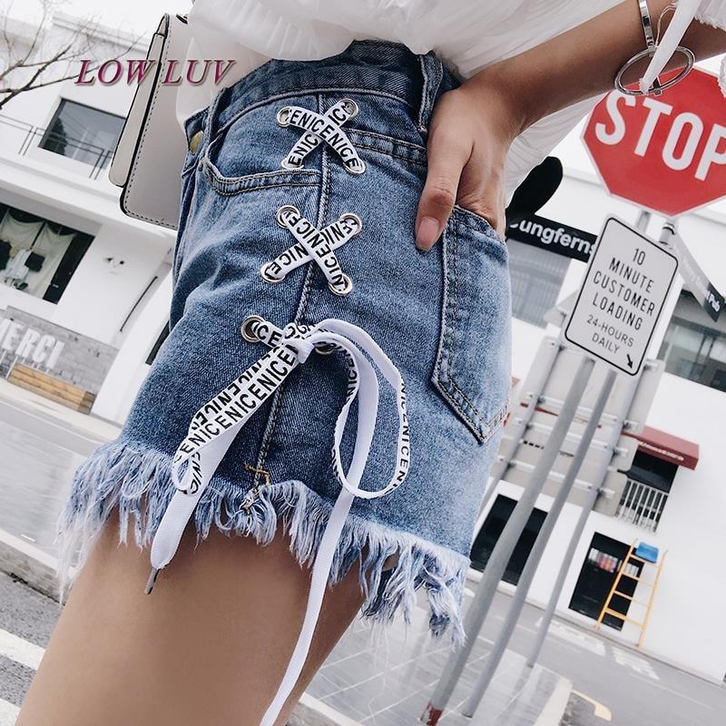 Sexy summer S-XL women denim black ripped   short   jeans high waisted tassel elastic lace up bandage   shorts   hotpants/ feminino
