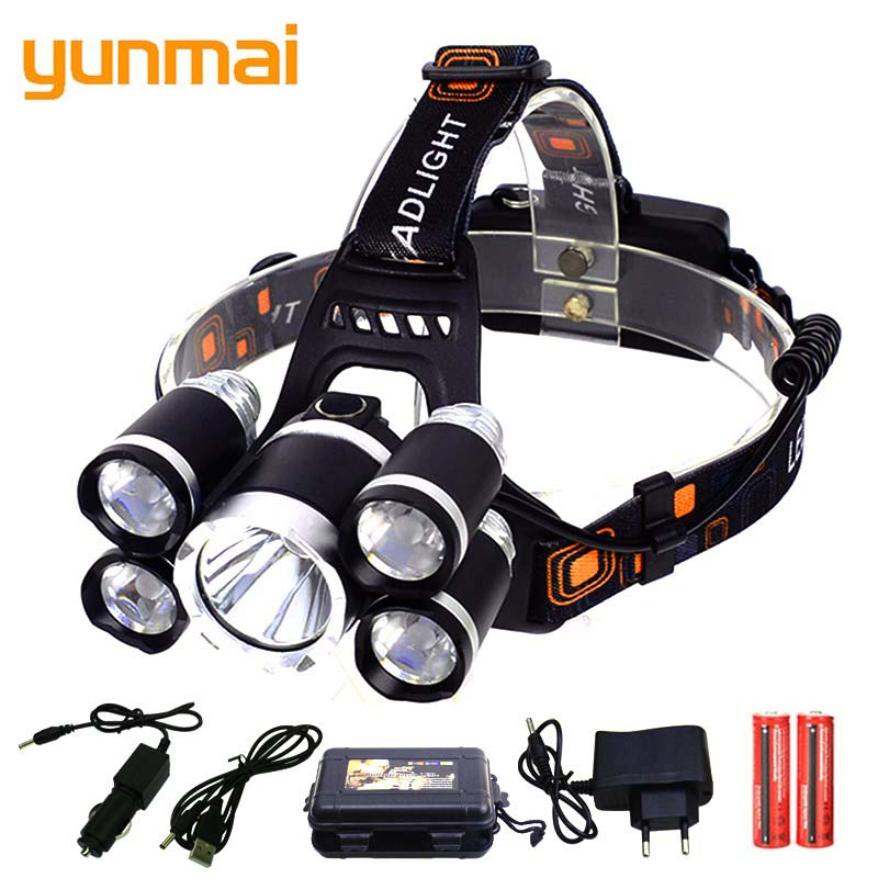 yunmai 5000 Lumens headlamp 5*LED XML T6 Headlight 4mode Headlamp Rechargeable Head Lamp flashlight+2*18650 Battery+AC/ Charger powerful xml t6 headlight 5000 lm rechargeable led headlamp t6 flashlight head torch lamp wall ac adapter charger 18650 battery