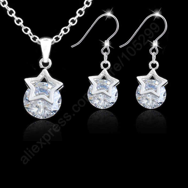 Ensembles de bijoux étoiles pur véritable 925 argent Sterling Vitas cubique zircone CZ pendentif colliers boucles d'oreilles + chaînes cadeau d'anniversaire
