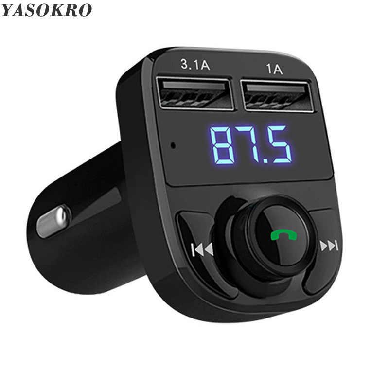 ياسوكرو معالج إرسال موجات fm سماعة بلوتوث للسيارة عدة سيارة الصوت مشغل MP3 مع 3.1A تهمة سريعة المزدوج USB شاحن سيارة