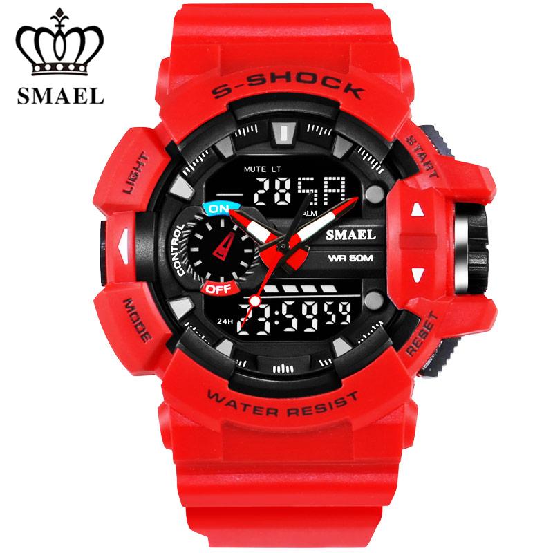 Prix pour Marque de luxe Smael Étanche Sport Montre Hommes De Mode Numérique LED Quartz Militaire de Montres Hommes Horloge Hommes Relogio Masculino Rouge