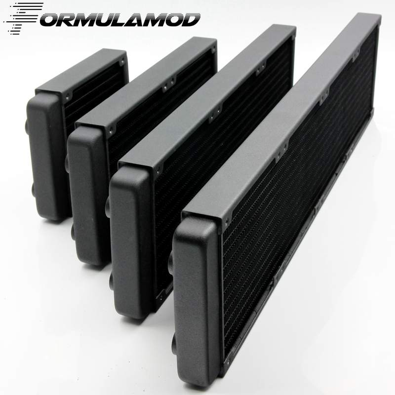 FormulaMod 120/240/360/480mm copper computer water discharge liquid heat exchanger threaded thread radiator for 12cm fan aluminum water cooling 120 240 360 radiator liquid cooler for 120mm fan g1 4 heat exchanger cooled computer